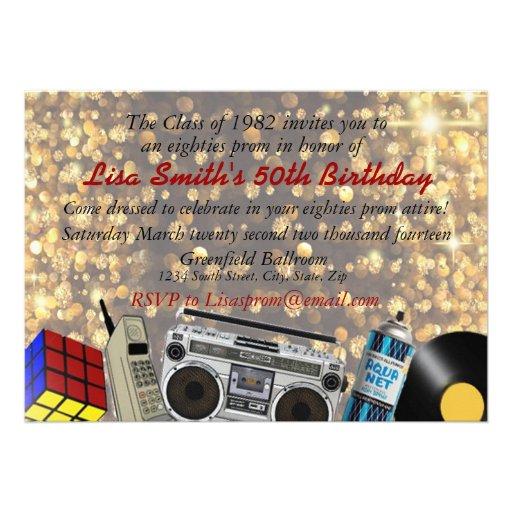 celebração do baile de formatura do anos 80 convite personalizados