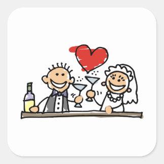 Celebração do casamento adesivo quadrado