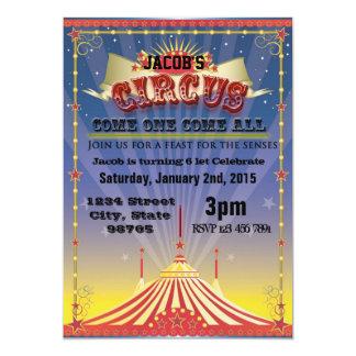 Celebração do circo convite 12.7 x 17.78cm