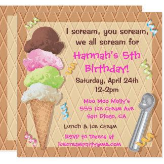 Celebração do convite de festas do sorvete