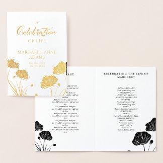 Celebração dourada das papoilas do programa do cartão metalizado