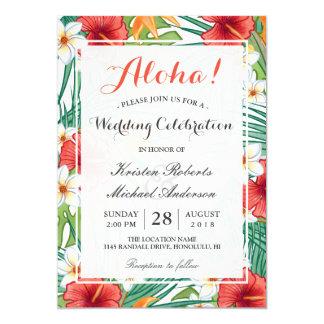 Celebração havaiana tropical do casamento do convite 12.7 x 17.78cm