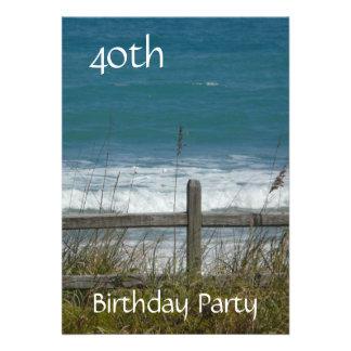 Celebração-Oceano homem do aniversário de 40 anos Convites Personalizados
