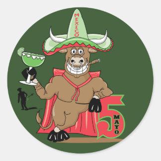 Celebrações de Bull Adesivo Redondo