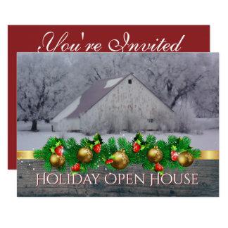 Celeiro aberto da neve do convite da festa em casa