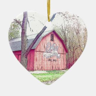 Celeiro dos anos 60 ornamento de cerâmica coração