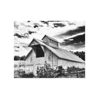 Celeiro preto e branco impressão em tela