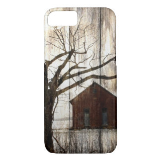 Celeiro primitivo do vermelho da árvore do inverno capa iPhone 8/ 7