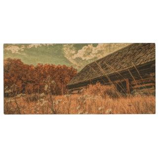 celeiro velho da fazenda do wildflower do campo do pen drive