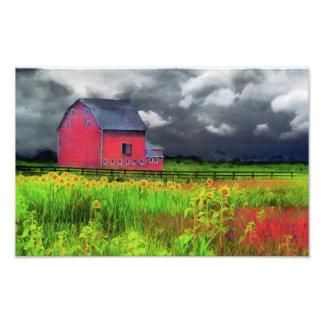 Celeiro vermelho, fotografia da natureza, decoraçã