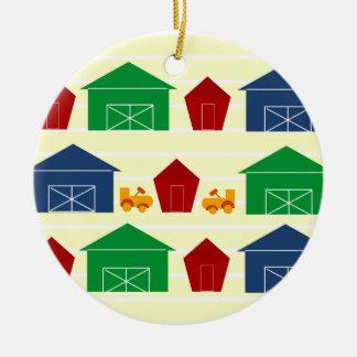 Celeiros do país em listras ornamentos para arvore de natal
