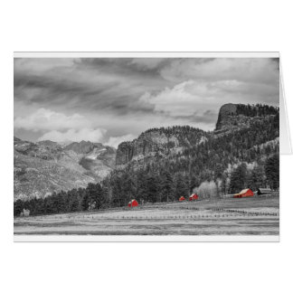 Celeiros ocidentais do vermelho da paisagem de cartão comemorativo