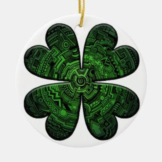 Céltico do trevo/trevo da folha do dia quatro de ornamento de cerâmica redondo
