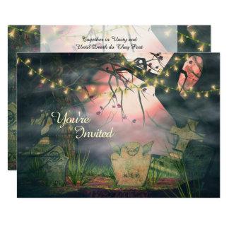 Cemitério encantador e luzes que Wedding o convite