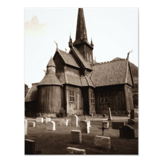 Cemitério gótico da igreja do Sepia vazio dos Convite 10.79 X 13.97cm