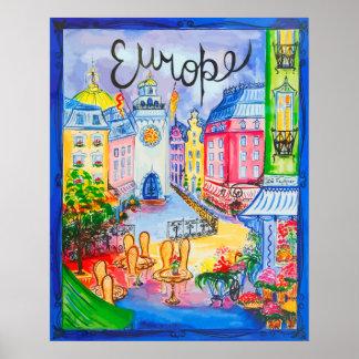 Cena bonito da cidade de Europa Poster