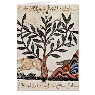 Cena da caça pelo pintor iraquiano do livro das er cartoes