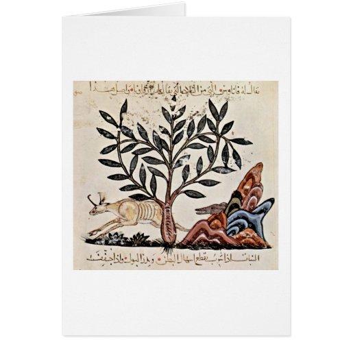 Cena da caça pelo pintor iraquiano do livro das er cartões