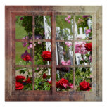 Cena da janela do jardim de rosas impressão