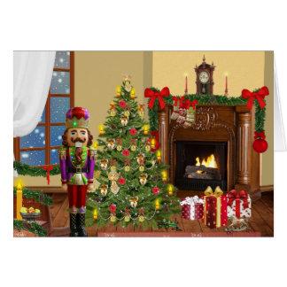 Cena da lareira do Natal com cartão do nutracker