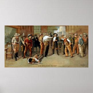 Cena da luta da arma do bar do poster do teatro pôster