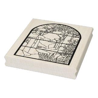 Cena da natureza da janela de vidro da mancha de carimbo de borracha