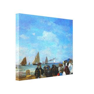 Cena da praia de Eugene Boudin-, Trouville Impressão Em Tela Canvas