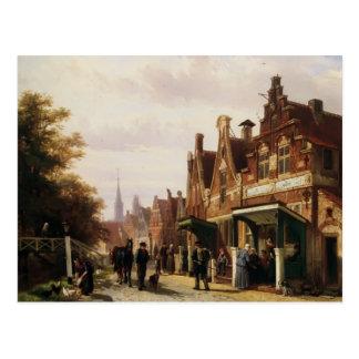 Cena da rua de Cornelis Springer com figuras Cartão Postal