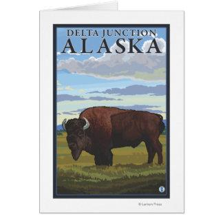 Cena do bisonte - junção do delta, Alaska Cartão Comemorativo