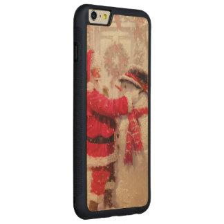 Cena do boneco de neve do papai noel do vintage capa bumper para iPhone 6 plus de carvalho, carved