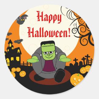 Cena do Dia das Bruxas Frankenstein da Lua cheia Adesivo Redondo