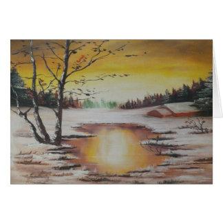 Cena do inverno da pintura de Ann Hayes do cartão