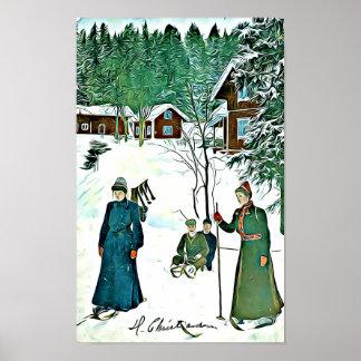 Cena do inverno do vintage, poster nevado da vila