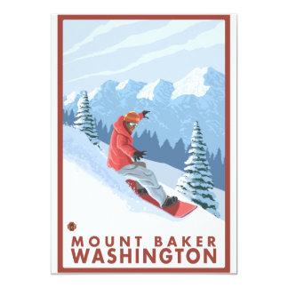Cena do Snowboarder - padeiro da montagem, Convite 12.7 X 17.78cm