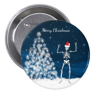 """Cena & esqueleto do inverno do """"Feliz Natal"""" Bóton Redondo 7.62cm"""
