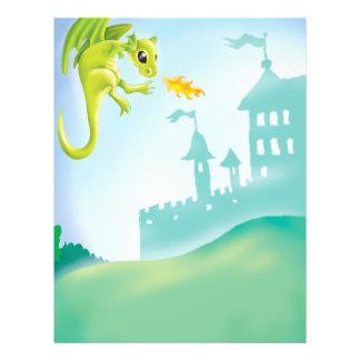 cena impetuosa bonito do dragão e do castelo modelo de panfletos