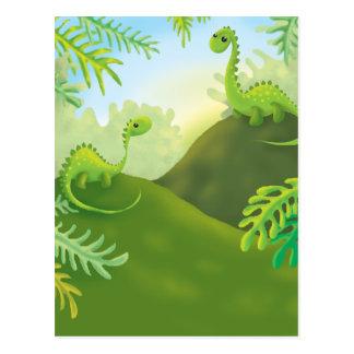 cena pequena bonito da terra do dinossauro cartões postais