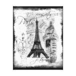 Cena preta & branca da torre Eiffel de Paris da co Impressão Em Tela Canvas