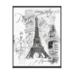 Cena preta & branca da torre Eiffel de Paris da co Impressão De Canvas Envolvida