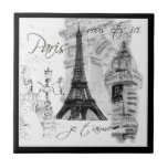 Cena preta & branca de Paris da torre Eiffel da ru Azulejos
