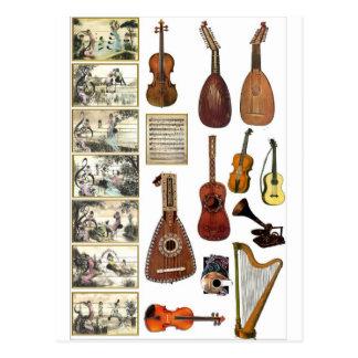 Cenas musicais e instrumentos cartoes postais
