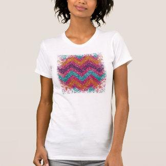 Cerceta alaranjada roxa cor-de-rosa de Chevron do T-shirts
