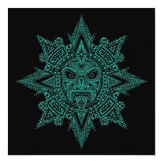 Cerceta asteca da máscara de Sun no preto Convite