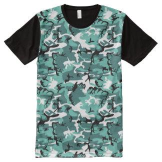 Cerceta Camo Camiseta Com Impressão Frontal Completa