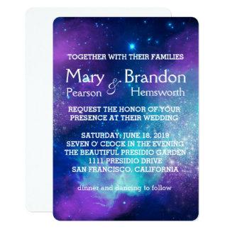 Cerceta & casamento cor-de-rosa da nebulosa do convite 12.7 x 17.78cm