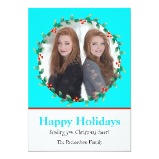Cerceta da grinalda do Natal e cartão com fotos Convite 12.7 X 17.78cm