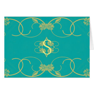 cerceta da inicial floral azul/amarelo cartão