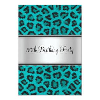 Cerceta da pele do leopardo da festa de convite 8.89 x 12.7cm