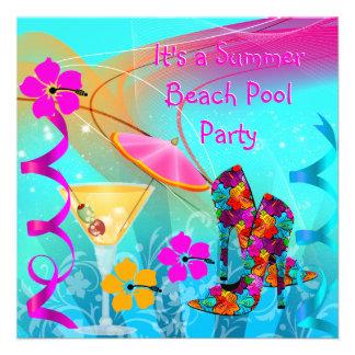 Cerceta do rosa quente do verão da festa na piscin convite personalizados