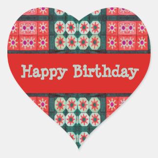 Cerceta do vermelho do feliz aniversario adesivos em forma de corações